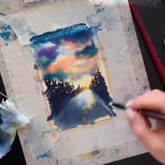 Breathtaking😍 By 💫 Release your creativity with a BONUS eBook Library by buying NIL Tech Watercolor Painting Techniques, Watercolor Video, Watercolour Tutorials, Watercolor Drawing, Watercolor Paintings, Pour Painting, Watercolors, Small Canvas Art, Arte Sketchbook