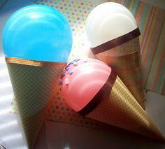 DIY: ice cream cone balloons