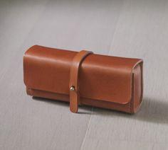 brown vegetable cow hide leather Pencil Case/Pen Pouch/ Sunglasses Case