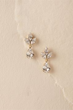 Virginia Drop Earrings Gold/Clear in Shoes & Accessories   BHLDN