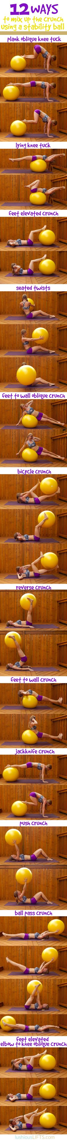 Forget the boring ol'crunch and spice up your stability ball crunches with these 12 variations! #exercise || lushiousLIFTS.com