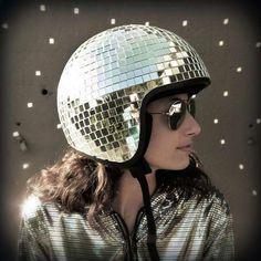 Studio 54-Inspired Headgear  A DIY Disco Helmet Makes a Two-Wheeled Commute Super Groovy #DIY #disco #bikegear