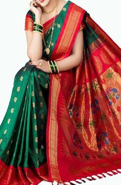 Want to buy silk sarees with designer blouse? Maharashtrian Saree, Marathi Saree, Marathi Bride, Marathi Nath, Marathi Wedding, Indian Beauty Saree, Indian Sarees, Sari Bluse, Indische Sarees