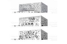 ANIMA Cultural Center by Bernard Tschumi Architects Parametric Architecture, Parametric Design, Architecture Student, Facade Architecture, Amazing Architecture, Landscape Architecture, Conceptual Sketches, Conceptual Design, Bernard Tschumi