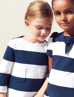 Spruce nautical white-navy blue striped dress from Il Gufo.