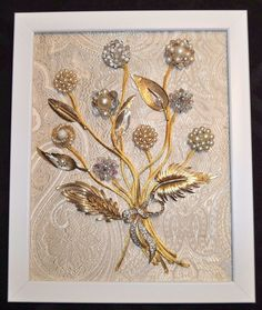 Repurposed Vintage Antique Jewelry Framed Art Elegant Pin Bouquet with Satin | eBay
