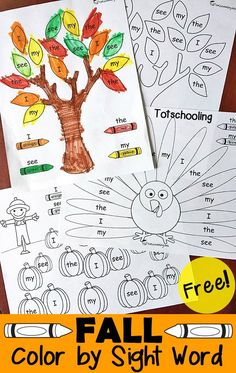 FREE Fall themed sight word coloring activity for preschool and kindergarten, featuring a pumpkin patch, Fall tree and turkey!