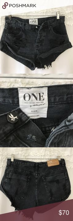 One teaspoon black wash denim shorts Forget the exact style name of the shorts but they're super cute a little bit cheeky. Barely worn too small on me. No stains or rips or snags. All pockets and buttons and zippers are working. One Teaspoon Shorts Jean Shorts