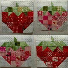 Jeni Kunselman's FGV quilt has strawberry corner blocks
