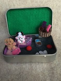 Itty Bitty Maties- Miniature felt dog in a tin play set by MatiesMeadow on Etsy https://www.etsy.com/listing/236523009/itty-bitty-maties-miniature-felt-dog-in