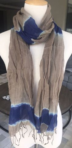 New Authentic Chan Luu Tie Dye Viscose Crinkle Scarf New Royal Blue Combo  | eBay
