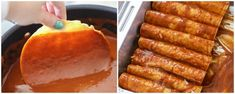 Restaurant-Style Red Cheese Enchiladas recipe - an old family favorite recipe that is simply the best. Corn tortillas filled with cheese, tomato sauce, chile puree, salt & garlic pepper and topped with more cheese! Spanish Dishes, Mexican Dishes, Mexican Food Recipes, Spanish Tapas, Mexican Cooking, Spanish Food, Easy Cheese Enchiladas, Red Enchiladas