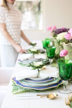 This is Your Easter Table: Pastels, Prints, Flowers and Cabbage Tulip Table, Easter Table Settings, Beautiful Table Settings, Paper Butterflies, Easter Brunch, Table Decorations, Tablescapes, Prints, Entertaining