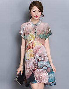 Cheap dress sleeves, Buy Quality dress for work women directly from China womens plus size cocktail dresses Suppliers: New Summer Women Floral Short Sleeve Loose Silky Shift Midi Dress Plus Size Classy Short Dresses, Short Sleeve Dresses, Couture Dresses, Fashion Dresses, Women's Floral Shorts, Moda Floral, Oriental Dress, Floral Fashion, Sweet Dress