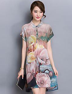 Kadın Günlük/Sade / Büyük Beden Sade Kombinezon Elbise Desen,Kısa Kollu Gömlek Yaka Diz üstü Gri Polyester Yaz Normal Bel Mikro-Esnek