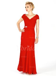 Mother of the Bride Dresses - $136.99 - A-Line/Princess V-neck Floor-Length Chiffon Mother of the Bride Dress With Ruffle (00805006980)