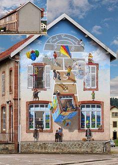 Fröhliche Fassadenmalerei von Patrick Commecy - detailverliebt.de