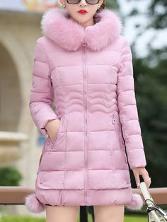 bf0f1fb8a5145b Hooded Pocket Quilted Plain Coat  coats  dress  fashion  outerwear  tops