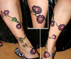 Again, Morning Glory tattoos look wonderful on the leg