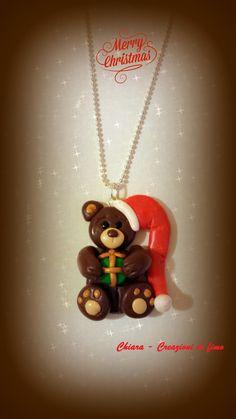 Ciondolo in fimo handmade con orsetto natalizio : Ciondoli di chiara-creazioni-in-fimo