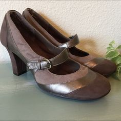 """Brown suede and brown patent leather Mary Janes These adorable shoes have three different shades of brown suede and a brown patent leather accent. They are a super cute Mary Jane style with 3"""" suede heels. Really cute shoes. AEROSOLES Shoes Heels"""