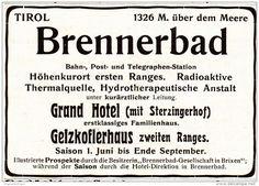 Original-Werbung/ Anzeige 1907 - BRENNERBAD IN TIROL - Ca. 80 X 60 Mm - Werbung
