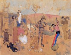 Family of jugglers - Pablo Picasso, Rose Period, watercolor/paper Pablo Picasso, Picasso Drawing, Picasso Art, Picasso Paintings, Painting & Drawing, Rose Paintings, Painting Styles, Figure Drawing, Guernica