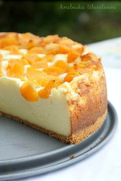 Cheesecake pudding with peaches - recipe (Polish)