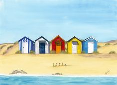 Original paintings prints and cards of the English seaside beach hut - in all the colours of the rainbow Beach Watercolor, Watercolor Landscape, Watercolor Paintings, Original Paintings, Pebble Painting, Stone Painting, House Painting, Beach Scene Painting, Beach Huts Art