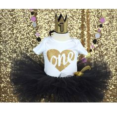Black tutu, First Birthday outfit, sparkle child, one year old, first birthday party, baby party, birthday babe, gold crown by GABYROBBINSDESIGNS on Etsy