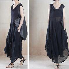 Women V neck Long Dress, Loose Fitting, Maxi Dress Linen 002
