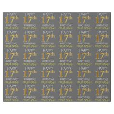 """Gray Faux Gold """"HAPPY 17th BIRTHDAY"""" Wrapping Paper - elegant gifts gift ideas custom presents"""