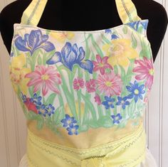 Vintage full apron Upcycled Yellow Easter Chicks Blue Lace by Littlebirdproductset on Etsy