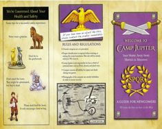 The Heroes of Olympus Photo: Camp Jupiter Brochure (inside & outside) Camp Half Blood Map, The Dark Prophecy, Son Of Neptune, The Lost Hero, Mark Of Athena, Camp Jupiter, Percy Jackson Characters, Roman Gods, Frank Zhang
