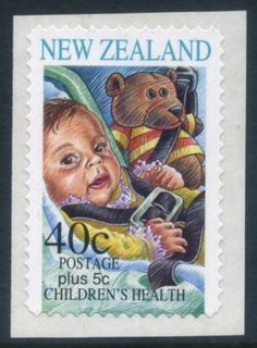 NZ Error Health 1996 Teddy Bear self adhesive error, superb example as issued, Teddy Bear latter removed