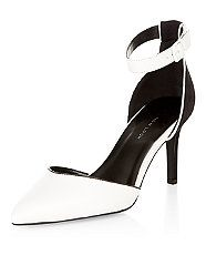 Wide Fit White Pointed Ankle Strap Heels  | New Look