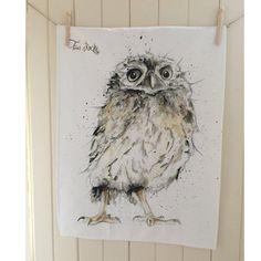 Owl Tea Towel by TheSkinnyCardCompany on Etsy
