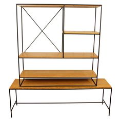Early Paul Mccobb Planner Group Iron And Maple Bookcase