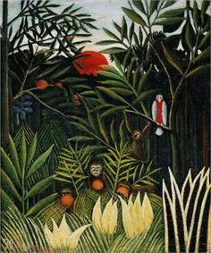Henri Rousseau (1844 - 1910) | Naïve Art (Primitivism) | Landscape with Monkeys