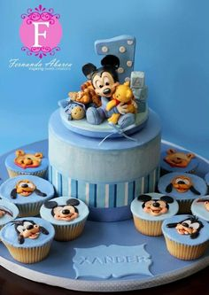 So sweet!! Micky mouse cake and cupcakes