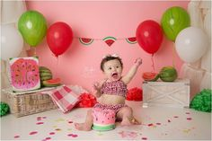 Home - Shannon Lee Photography Half Birthday Baby, First Birthday Party Themes, 1st Birthday Cake Smash, First Birthday Pictures, Birthday Decorations, Birthday Ideas, Watermelon Birthday Parties, Watermelon Baby, Cake Smash Pictures