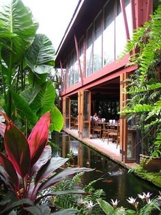 The Restaurant at Jim Thompson House. Sit back, relax and immerse yourself in the beautiful gardens as its opening to the elements truly brings the outside in.