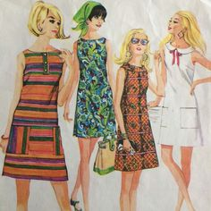 Butterick Pattern 8744 for Misses' Mini-Dress in Six Versions. Three section, sleeveless mini-dress has zipper in center back seam. Neck and armholes are faced and collarless neckline is interfaced. | eBay!