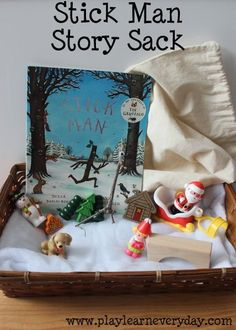 Stick Man Story Sack A fun story sack full of ideas for exploring Stick Man by Julia Donaldson. Christmas Activities, Winter Activities, Preschool Activities, Activities For Kids, Senses Preschool, Julia Donaldson Books, Book Area, Story Sack, Treasure Basket