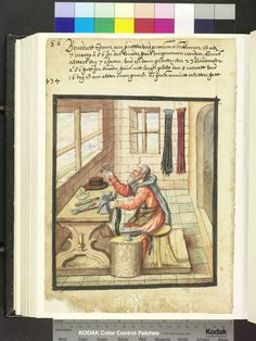 "Amb. 317b.2° Folio 46 verso ""the brother sits at his work table and edit on anvil with the hammer the buckle of a belt. on the table are his tools ready: the crescent-shaped Paper cutters, pliers and inexpensive, next to him is another plant unit with a second anvil. Rear hanging on the wall down finished belt."""