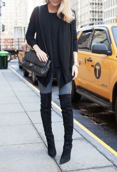 over the knee boots and sweater