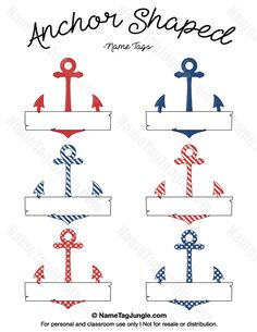 Free printable anchor-shaped name tags with a nautical red, white, and blue color scheme. The template can also be used for creating items like labels and place cards. Download the PDF at http://nametagjungle.com/name-tag/anchor-shaped/