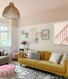Interior designer and colour queen Sophie Robinson continues her colour crush feature and this time looks combining pink and yellow Farrow And Ball Living Room, New Living Room, Living Room Decor, Bedroom Decor, Shabby Bedroom, Pretty Bedroom, Shabby Cottage, Shabby Chic, Pink Ceiling