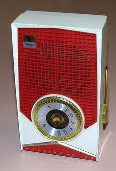 Vintage Westinghouse 5-Transistor Radio, Model H-656P5 (White & Red), Made In USA, Circa 1959.