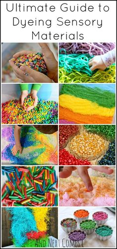 How to Dye Sensory Materials (So You Can Make Epic Rainbow Sensory Bins for Kids!) - Tuff Tray Ideas - Rainbow sensory play guide: how to dye sensory bin fillers from oats to rice to salt from And Next - Sensory Tubs, Sensory Boxes, Sensory Activities, Infant Activities, Preschool Activities, Diy Sensory Toys, Baby Sensory Play, Preschool Colors, Sensory Diet